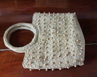 Crochet and Wood Bead Bag Rustic Vintage Woven String Handbag