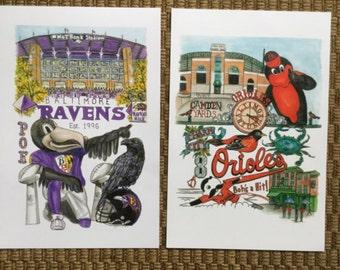 Baltimore Ravens Orioles fan prints 2 for 40.