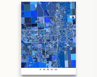 Fargo Poster, Fargo ND Map Print, City Art Maps