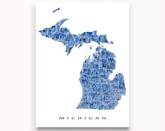 Michigan Map Print, Michigan State Art, MI Wall Decor