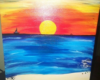 Sail away into the Sunset one of a kind painting