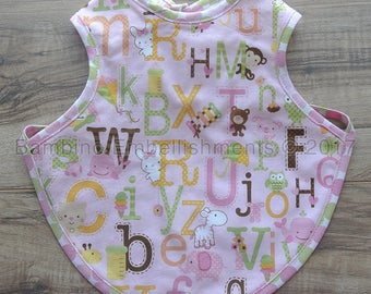 READY To Ship! Alphabet Bapron, Full Coverage Bib, Art Smock,Baby Toddler Apron Bib,Baby Bib, Tie On Baby Bib, Toddler Bib,Full Coverage Bib