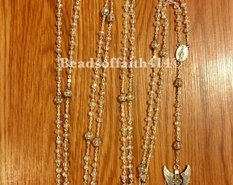 20 Decade Rosary clear crystal