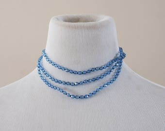 Vintage Czech Triple Strand Choker Necklace with Bright Blue Faceted Glass Beads Costume Jewellery M-886