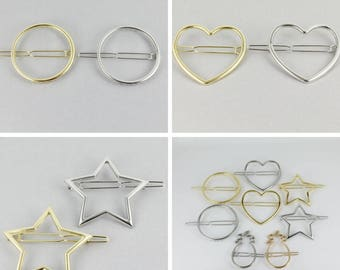 outline shiny barrette hair clip Circle Heart Star Rectangle Infinfity Pineapple Silver Gold outline small barrette hair clamp