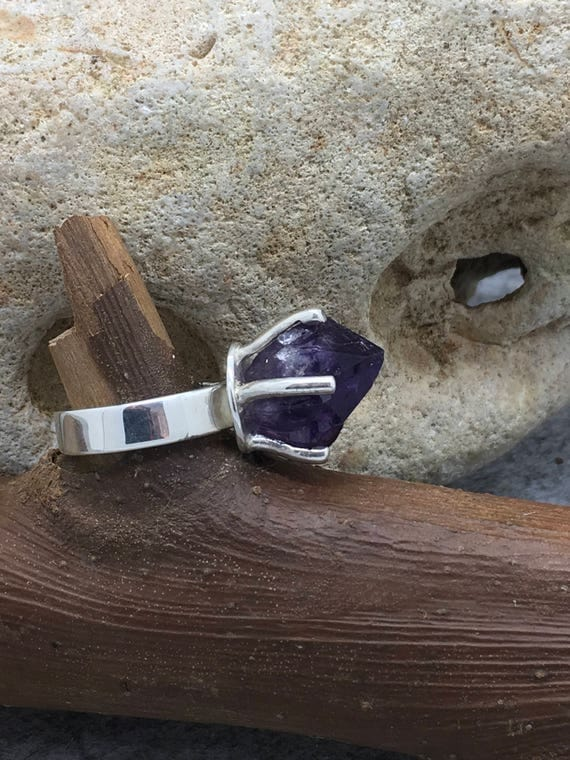 Handcrafted Sterling Silver Amethyst Rock Ring.