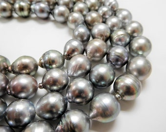 12x14mm Light Circle-Drop/Baroque Tahitian Pearl Necklace Strands