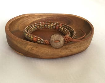 Beaded double-wrap bracelet with earth-toned beads