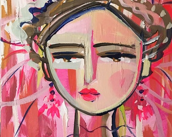 Warrior Girl PRINT, abstract faces, Maren Devine, square art, Pink 2
