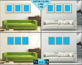 8x10 Living Room Interior Styled mockup | Set of 3 Fine Gold Portrait Landscape Frame | Modern interior PNG scenes | Styled Photoshop mockup