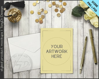 Card Envelope Perfume Roses on Gold Table Styling | 5x7 Empty Portrait Landscape Card Styled Desktop Mockup D1 | Styled Stock Photography