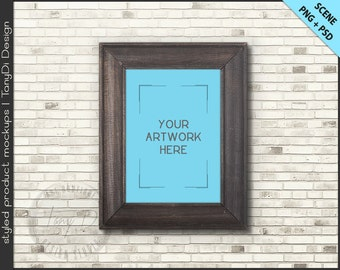 Wood Frame Mockup | 4 Styled scene | 5x7 Empty Frame on Interior Wall Styled Mockup W4 | Vintage Portrait Landscape Frame | Custom colors