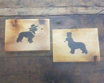 Mens And Womans Bathroom restroom sign dog signs