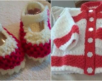 Baby Knitting patterns 'Zoe' Shoes and Cardi various sizes