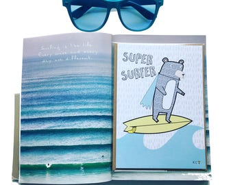 Super Surfer Greetings Card by Katie Cheetham
