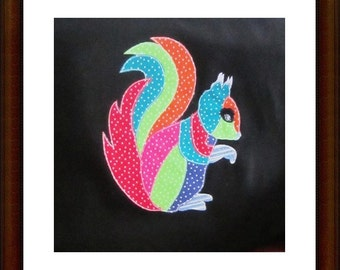 Raw Edge Applique Squirrel Machine Embroidery Design Pattern 5x7, 6x10, 8x12 Hoop by Titania Creations, Instant Download.