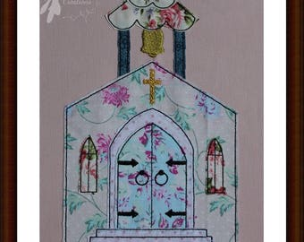 Raw Edge Applique Church Front Machine Embroidery Design Pattern 5x7 6x10 8x12 by Titania Creations, Instant Download.