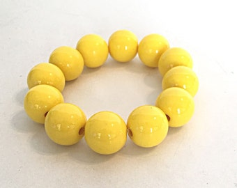 Yellow bracelet, womans statement bracelet for her, chunky simple everyday bracelet for her, stretch beaded bracelet, stackable bracelet