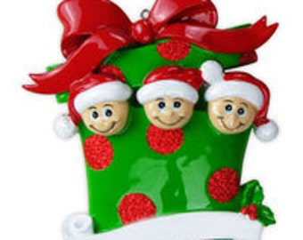 Personalized Present Family of 3 Holiday Ornament