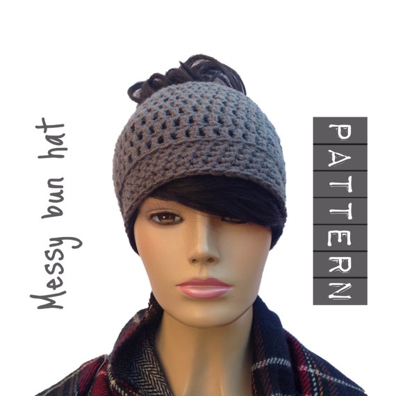 Messy bun hat pattern, PDF bun beanie, ponytail hat, messy bun beanie hat, crochet hat pattern, beanie hat PDF instant download pdf