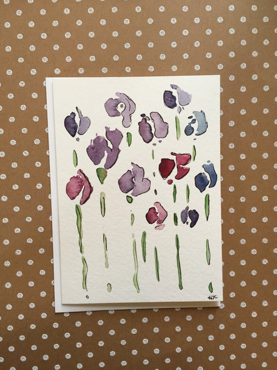 Hand Painted Flower Card, Hand Painted Flower Note Card, Watercolor and Ink Card, Original Hand Painted Card