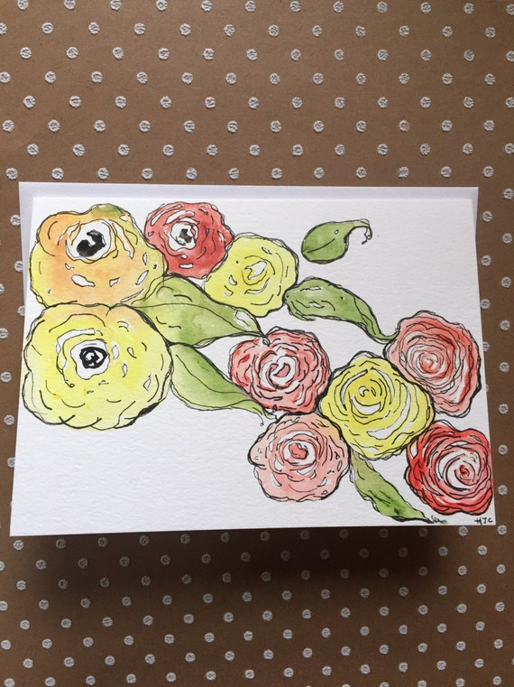 Watercolor Flower Card, Homemade Flower Card, Hand Painted Card