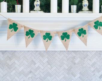 St Patricks Clover Banner, Green Clover Burlap Banner, St. Patrick's Day Banners, St. Paddy's Day Banner, St Patty's Clover Banner, B425