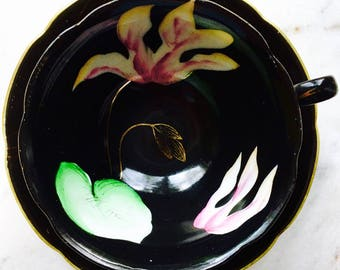 Occupied Japan Princess China Black Orchid Tea Cup