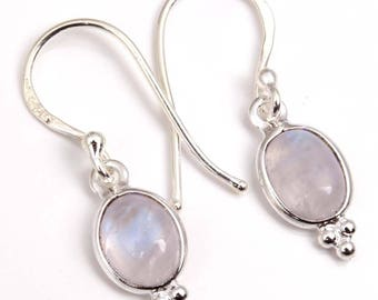 Moonstone Earrings - Sterling Silver Moonstone Drop Earrings - Rainbow Moonstone Jewelry- Gemstone Earrings - indian Jewelry
