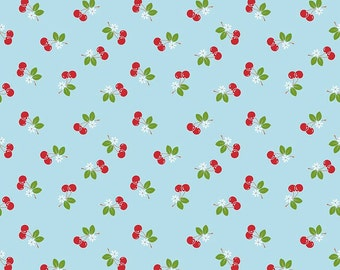 1 Yard Sew Cherry 2 by Lori Holt for Riley Blake Designs- 5804-Aqua Cherry