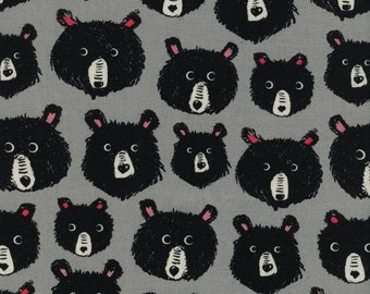 1 Yard Cotton and Steel Collaborative Black and White -Teddy and the Bears 5113-01