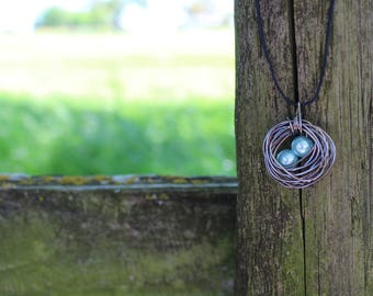 silver/blue birds nest necklace with 2 eggs