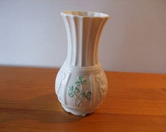 "Belleek ""Nadine"" shamrock spill vase made in Ireland"