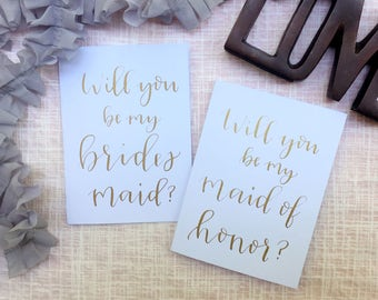 Bridesmaid Card-Personalized Will You Be My Bridesmaid Gold Custom Calligraphy Wedding Bridal Party Card Invite Gift Box