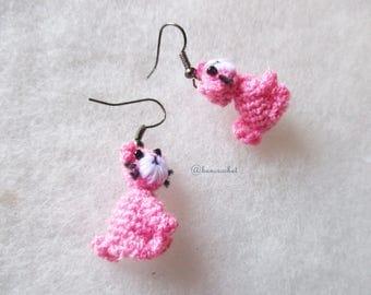 Mini cat earrings amigurumi crochet :doll,mini doll,crochet,amigurumi,earrings,accessories,jewelry,handmade,cat doll,bancrochet