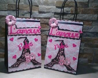 Paris Goody Bags set of 12/ Paris Favor Bags