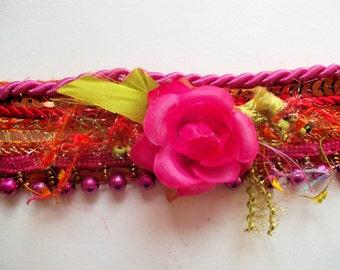 Fabric bracelet textile bracelet gold pink textile jewelry cuff indian ribbons boho bracelet hippy bracelet mokuba floral tapes