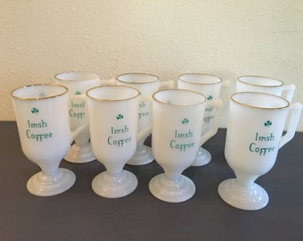 Lovely set of 8 vintage mint condition white milk glass Irish Coffee mugs - handle / pedestal / gold leaf rim & sweet lucky clover design!