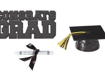 Congrats Grad Cake Decorating Kit in 6 colors, Grad Cap Cake Decoration
