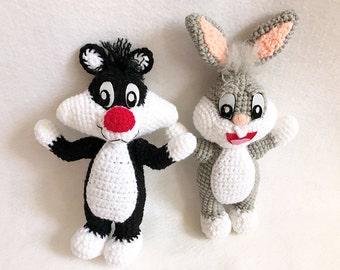 Crochet Cartoon gang, nursery decor, Sylvester, Bugs Bunny amigurumi, Crochet Bugs Bunny, crochet Sylvester, crochet cat rabbit, gift