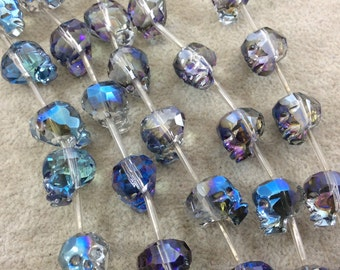 """12mm x 15mm AB Finish Transparent Gray/Blue Chinese Crystal Carved 3D Skull Beads - Sold by 10"""" Strands (Approx. 12 Beads) - (CCS1215-97)"""