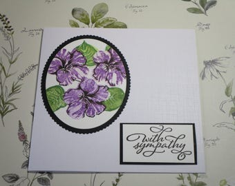 Lilac flowers with sympathy card. Floral tribute card.