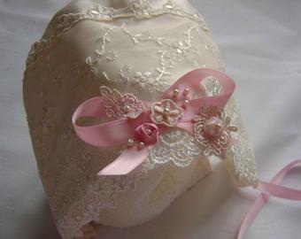 """Beautiful Silk & Lace Embellished Bonnet -""""Helen"""""""