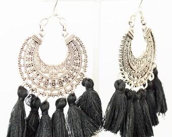 Tibetan Silver Tribal Design Fringe Earrings