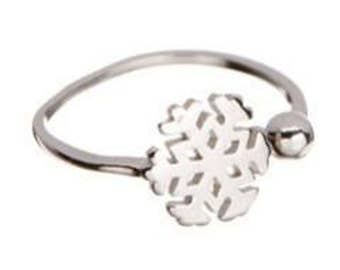 Sterling Silver Adjustable Snowflake Ring