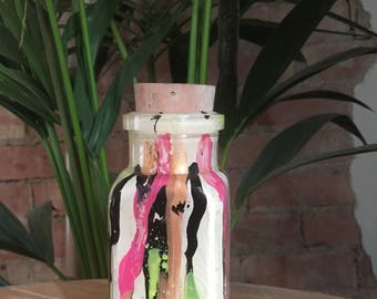 Vintage Hand Formed Painted Glass Bottle White/Black/Neon Yellow/Pink/Copper