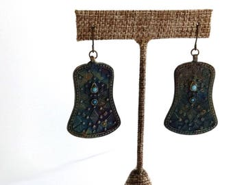 """Tribal Style Earrings Iridescent Metal Central Asian Themed Ethnic Jewelry 2.25"""""""
