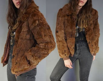 Vtg Brown & Black Rabbit Fur Coat Bomber || 70s 80s Fur Bomber Jacket || Cropped  || Size Small || Free Shipping in USA