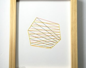 Hand Stitched Woven Shapes in Lemon, Papaya + Sea. Paper. Framed + Ready to Hang. One of a Kind Art Pieces.