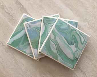 Green Coasters, Marbleized Coasters, Tile Coasters, Ceramic Coasters